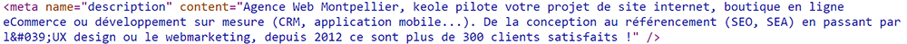 La metadescription dans le code HTML
