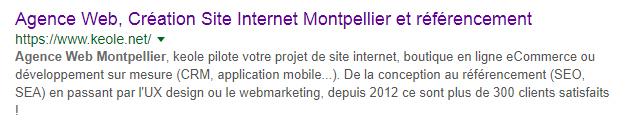 Aperçu de la description sur une SERP Google