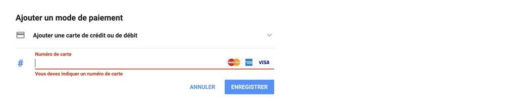 Ajouter carte de crédit